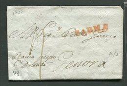 1832  RARA  PREFILATELICA DA   PARMA  X  GENOVA   INTERESSANTE TESTO - 1. ...-1850 Prefilatelia