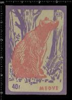 Poster Stamp - Hungarian Matchbox Label  -  Animals, Bear,  Bären, Ursidae - Zündholzschachteletiketten