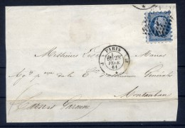 Lettre Avec N14 Piquage Susse De Paris à Montauban - 1853-1860 Napoléon III