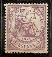 ESPAÑA 1874 - Edifil #144a - Sin Goma (*) - 1873-74 Regentschaft
