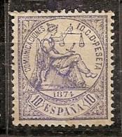 ESPAÑA 1874 - Edifil #145a - MLH * - 1873-74 Regentschaft