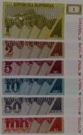 SLOVENIA - Set 1, 2, 5, 10, 50, 100 Tolarjev 1990 UNC - Slovénie