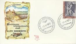 SPOLETO- 18^ SETTIM. INT.LE STUDI ALTO MEDIOEVO- 2-4-70 -BOLLO SPECIALE - Philatélie & Monnaies