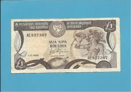 CYPRUS - 1 POUND ( BIR LIRA ) - 01.11.1989 - P 53a - Chypre