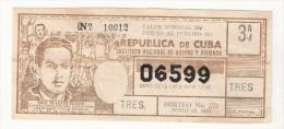 Republica De Cuba -  Saul Delgado Duarte 1964 - Lottery Ticket - Lottery Tickets