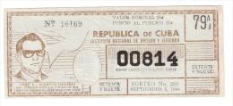 Republica De Cuba -  Jose L. Dubroco Sardinas 1964 - Lottery Ticket - Lottery Tickets