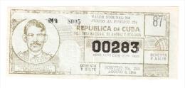 Republica De Cuba -  Jose Testa 1964 - Lottery Ticket - Lottery Tickets