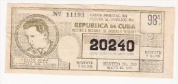 Republica De Cuba -  Julito Diaz 1964 - Lottery Ticket - Lottery Tickets