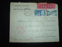 LETTRE EXPRES TARIF 65F OBL.7-10-1950 BESANCON RP (25 DOUBS) PASSEE PAR TUBES PNEUMATIQUES A PARIS OBL.HOROPLAN PARIS 30 - Marcophilie (Lettres)