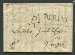 1834   RARA PREFILATELICA DA   RIMINI   X   VENEZIA IMPOSTAZIONE  DI ANCONA  INTERESSANTE TESTO - Italia