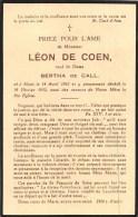 Léon De Coen - Alost 1862-1932 - V. Bertha De Call - Overlijden