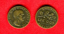 ALBANIE - ALBANIA - ALBANIEN - VITTORIO EMMANUELE III -0,0 5 LEK 1940  XVIII R - Albanie