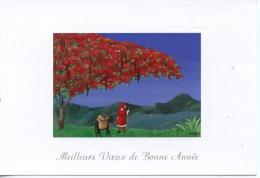 Martinique Meilleurs Voeux De Bonne Année : Peinture De Emilie (flamboyant Père Noël) Exbrayat Fort De France - Other