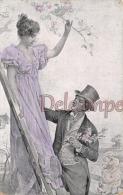 CPA Fantaisie - Couple - Illustration Art Nouveau Belle époque - Flirt Seduction Drague Amour Love - Couples