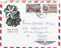 "Tahiti Lettre ""embleme De Tahiti""  Affranchie à 15fr Par Avion Pour La France - Tahiti"