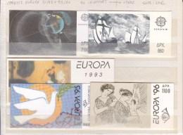 GRECE - COLLECTION ** CARNETS EUROPA 91+92+93+95+96 - COTE YVERT = 61 EUROS - - Markenheftchen