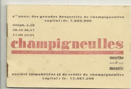 54 CHAMPIGNEULLES CARNET CARTES  BIERE BRASSERIE 1930 - Unclassified