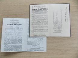 2 Doodsprentjes Koppel André Pauwels En Elisabeth Provoost - Religion & Esotérisme