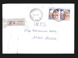 Italia-  St. Post. -X- 1983 - Raccomandata - Timbro 16/02/1988. 2 Val. Castelli £ 1400 Caldoresco- Vasto - 1981-90: Storia Postale