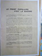 Le FRONT  POPULAIRE  C'EST  LA  GUERRE  -  DOC  De Propagande Anti-communiste - Historical Documents