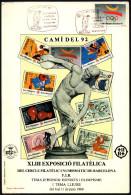 OLYMPIC GAMES / ATHLETICS - ESPANA BARCELONA 1989 - EXPOSICIO FILATELICA: CAMI' DEL '92 - OFFICIAL CARD - DISCUS THROW - Atletica