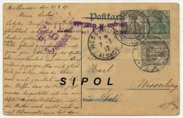 Postkart Carte écrite En Allemand Le 21/2/17 Expédiée De Mulhouse à Wesserling Via Delle Bussang  Voir Cachets - Guerre 1914-18