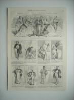 GRAVURE 1861. PORTRAITS-CARTES DE M. ARTHUR DE GANDINENVILLE, PAR BERTALL. 9 CARICATURES AVEC LEGENDES. - Estampes & Gravures