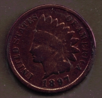 USA ONE CENT 1897 INDIAN HEAD - 1859-1909: Indian Head