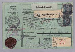 DE DR 1924-08-14 Frankfurt Paketkarte Nach Zürich 1.75 RM - Deutschland