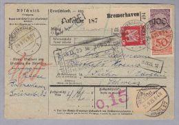 Heimat DE HB BREMERHAFEN 1925-09-24 Auf Paket-Karte Nach SUHR AG (CH) RM 1.60 - Deutschland