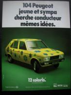 - Pub Auto - Publicité Papier - Automobile - 104 Peugeot - Mai 1978 - - Advertising