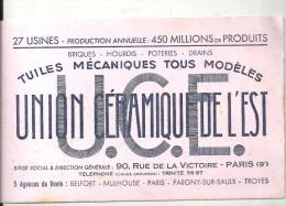 Buvard Union Céramique De L'Est Tuiles Mécaniques Tous Modèles 90, Rue De La Victoire Paris IX - Blotters