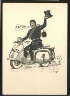 MOTORCYCLE MOTORRAD VESPA CHIMNEY SWEEP ART COMIC OLD POSTCARD #66 - Motorfietsen