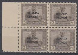 02714g Ruanda Urundi - Vloors 1924 - 3 Frs. Bloc de 4** (COB 59)