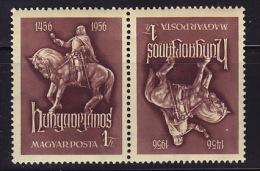 1956  500è Ann Janos Hunyadi  Paire Tête-bêche ** - Hongrie