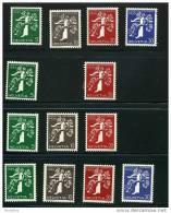 SUISSE  1939 Exposition Nationale Suisse 13 Différents Voiir Description Trace De Charnière - Neufs