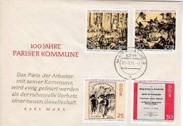 DDR 1971 Centenary Of Paris Commune Set On Commemorative Cover (not FDC).  Michel 1655-58 - [6] Democratic Republic