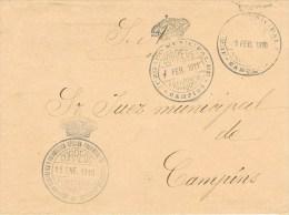 7063. Carta Barcelona A CAMPINS (barcelona) 1911. Doble Franquicia - Cartas