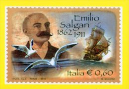[MD0014] EMILIO SALGARI CENTENARIO DELLA MORTE - CON ANNULLO 20.5.2011 - Scrittori