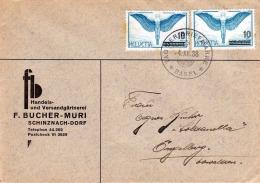 HELVETIA 1938, 2 X 10C Auf 65C Frankierung Auf Geschäftsbrief Gel.v.Basel Nach Engelberg