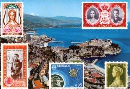 MONACO 1980, 5 Fach Sondermarken + 1,2 F Frankierung Auf Ak Monaco - Monaco