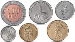 RWANDA 1, 5, 10, 20, 50, 100 FRW 6 COINS SET WITH BIMETALLIC UNC - Rwanda