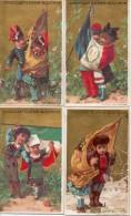 Chromos Guérin-boutron, Pays Soldat Cantinière Et Drapeau - Autriche, France, Italie, Russie (fond Doré Or) - Guerin Boutron