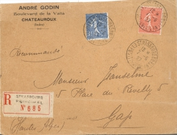 Enveloppe Strasbourg Exposition Philatélique Internationale En Recommandée, Affr. 1 F 50 Semeuse YT 199, 205 - Francia
