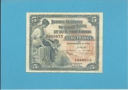 BELGIAN CONGO - 5 FRANCS - 15.09.1953 - P 21 - BANQUE CENTRALE DU CONGO BELGE ET DU RUANDA-URUNDI - BELGIUM - Ruanda-Urundi