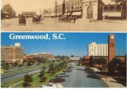 Greenwood SC South Carolina, 'Then & Now' Main Street Scene, C1990s/2000s Vintage Postcard - Greenwood