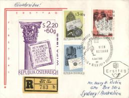 (616) FDC Cover - Registred Cover From Austria To Australia  - 1965 - WIPA 1965 Registration - 1961-70 Briefe U. Dokumente