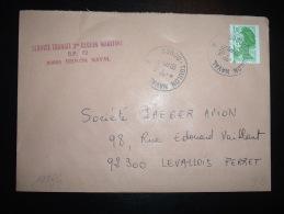 LETTRE TP LIBERTE DE GANDON 1,70F OBL. 31-8-1984 83800-TOULON NAVAL (83 VAR) - 1982-90 Liberty Of Gandon