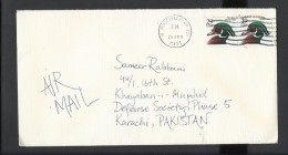 USA 1991 Wood Duck, Scott #2484 USA Airmail To Karachi Pakistan - Canards