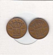 2 X 50 CENTIMES Bronze Baudouin I 1966 FR Et 1973 FL - 1951-1993: Baudouin I